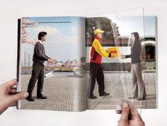 Anúncio criativo em revista da DHL promovendo sua entrega rápida