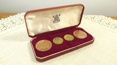 1964 - Bailiwick of Jersey 4 Proof Coin Set In Red Case Royal Mint Bailiwick Of Jersey, Fuller Brush, Proof Coins, Glass Paperweights, Bangles, Bracelets, All Pictures, Belt Buckles, Glass Art