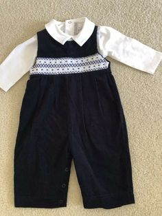 58bbdb48e Boys Smocked Navy Corduroy With Coordinate Collared Shirt-9 Months #fashion  #clothing #