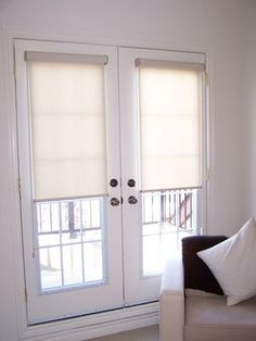 Roller Shades With Cassettes On French Doors  Curtains For French Doors