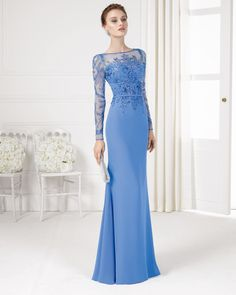 Glamorous blue beaded wedding gown with illusion sleeves // Serenity-hued wedding dresses inspired by 2016's Pantone Color of the Year