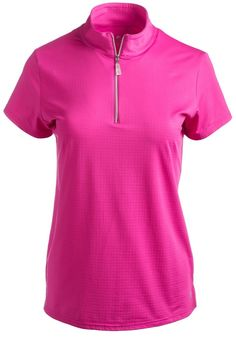 Hot Pink Bette & Court Ladies and Plus Size Swing Short Sleeve Mock Neck Golf Shirt available at #lorisgolfshoppe