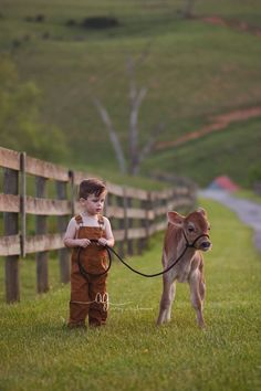 A sweet little baby boy and his little calf.