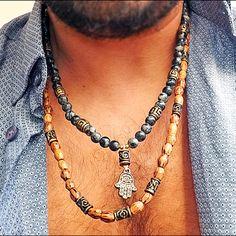 Men Necklace Handmade Real Jasper Beaded Necklace Hamsa Necklace - Gift for Men