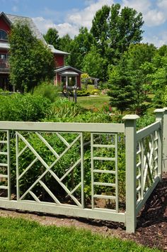 We tend think of fencing primarily in terms of its function: it's ability to keep trespassers out while keeping children and pets in. Fancy Fence, Fence Styles, Garden Fencing, Grandma's House, Outdoor Structures, Fence Ideas, Pets, Bridge, Gardening