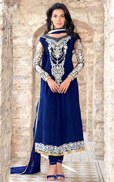 Picture of Gorgeous Blue Color Indian Designer Wedding Salwar Suit