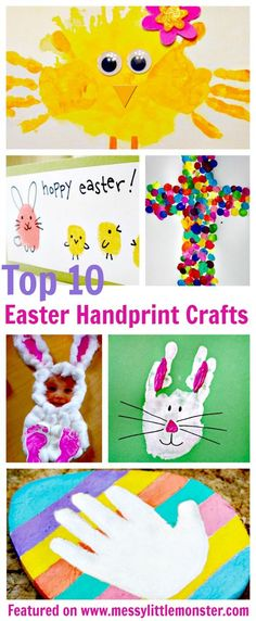 Easter handprint craft ideas for kids. A collection of 10 Easter ideas for toddlers and preschoolers including Easter bunny, chicks, Easter eggs and crosses.