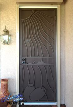 Southwest themed wrought iron security door & Southwest Category of Security Screen Doors #FirstImpression ... pezcame.com