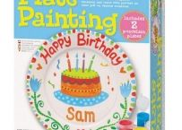 Paint and decorate two 6 inch ceramic plates, then display them on stands. Kit includes two plates, two display stands, paints, brush and instructions. Made by - Toysmith. Happy Birthday Sam, 2 Birthday, Birthday Plate, Birthday Ideas, Birthday Parties, Crafts For Kids, Arts And Crafts, Sleepover Party, Educational Toys
