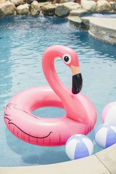Pool toys at a flamingo birthday party! See more party ideas at CatchMyParty.com!