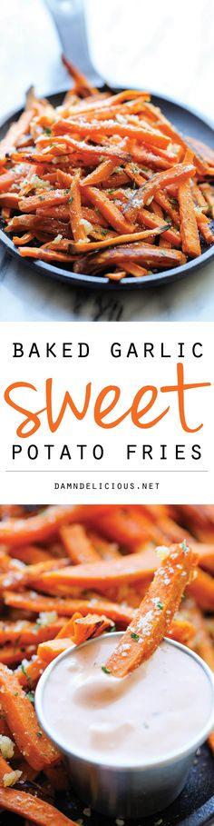 Vegan Baked Garlic Sweet Potato Fries - Amazingly crisp on the outside and tender on the inside, and so much better than the fried version! W/o Parmesan for vegan Think Food, I Love Food, Good Food, Yummy Food, Tasty, Veggie Recipes, Vegetarian Recipes, Cooking Recipes, Healthy Recipes
