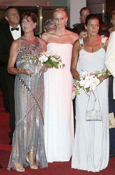 Stephanie, with sister Princess Caroline, and  Charlene Wittstock ( before she…