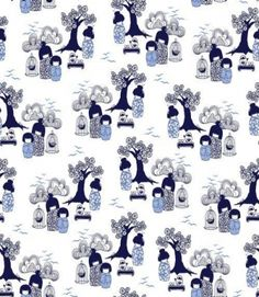 Kokeshi is Bantie's modern interpretation of a classic de jouy pattern wth an Asian twist. A charming fabric available in two colorways. Textiles, Textile Patterns, Print Patterns, Paper Design, Fabric Design, Scandinavian Fabric, Japanese Paper, Japanese Geisha, Kawaii