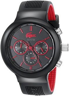 Men's Wrist Watches - Lacoste 2010652 Boneo BlackRed Stainless Steel Watch >>> Check this awesome product by going to the link at the image.