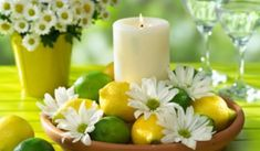 Adorable daisy, lemon, and lime centerpiece idea for your Candle Impressions Flameless Pillars! just remember to keep safe and go flameless! Remember: Candle Impressions has floating candles too! Lime Centerpiece, Candle Centerpieces, Centerpiece Ideas, Inexpensive Centerpieces, Centerpiece Flowers, Fruit Decorations, Diy Flowers, Wedding Decorations, Best Candles