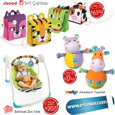 ✿ İndirimli ürünlerden sizin için seçtiklerimiz :) ● Janod Sırt Çantaları 61 TL ; http://www.e-toker.com/Ara?str=%25C3%25A7anta&brand=JANOD*&p=1&advantage=&price= ● Bright Starts Salıncak Zoo Tails SADECE 207 TL ; http://www.e-toker.com/Bright-Starts-Salincak-Zoo-Tails-13956 ● Bondigo ; http://www.e-toker.com/Marka/bondigo?ps=72&sort=Price 100 TL VE ÜZERİ ÜCRETSİZ KARGO ! ● Müşteri Destek Hattı : 0 312 911 1 666 :)