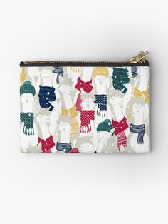 """Happy llamas Christmas Choir"" Studio Pouches by SelmaCardoso Llama Christmas, Xmas Holidays, Canvas Prints, Art Prints, Llamas, Choir, Getting Organized, Zipper Pouch, Pouches"