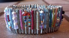 Safety Pin Bracelet Cuff made from RECYCLED by gr8byz on Etsy, $28.00