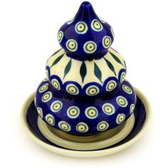 Polish Pottery 6-inch Christmas Tree Candle Holder | Boleslawiec Stoneware | Polmedia H5888D | Polmedia