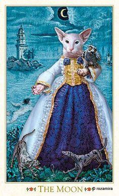 "XVIII - La lune - Tarot baroque ""les chats bohèmes"" par Karen Mahony & Alex Ukolov"