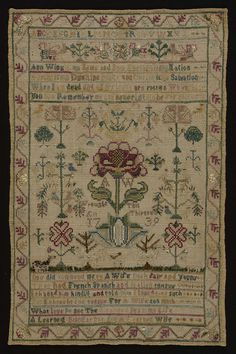 """Unbleached plain weave linen sampler embroidered with silk. Inscribed """"Ann Wing is my Name and New England is my Nation, Boston is my Dwelling Place and Christ is my Salvation. When I am dead and all my bones are rotten, When this you see Remember me and never let me be Forgotten.""""; """"A. W. wrought this Aged thirteen 1739."""" Below this """"One did commend me to a Wife both Fair and Young, That had French, Spanish and Italian tongue. I thanked him kindly and told him I loved none such, For I…"""