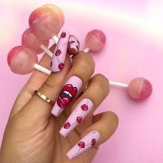Fancy Nails, Pink Nails, Cute Nails, Red Nail, Disney Acrylic Nails, Best Acrylic Nails, Stylish Nails, Trendy Nails, Cute Acrylic Nail Designs