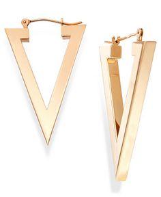 Triangle Hoop Earrings in 14k Gold - Earrings - Jewelry & Watches - Macy's