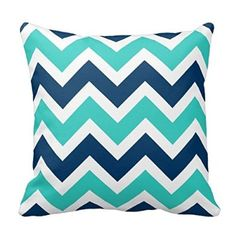 Home Decorative Navy Blue And Teal Chevron Zigzag Pattern Pillow Throw Pillow Cover Cushion Case 18""
