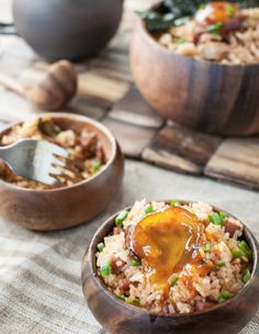 Simple and easy kimchi spam fried rice with soy & gochujang-cured egg yolk