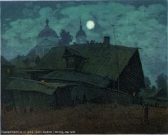 Russian Fine Art - The Moon Has Risen - paper, etching