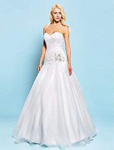 Ball Gown Sweetheart Floor-length Lace And Organza Wedding ... – USD $ 199.99