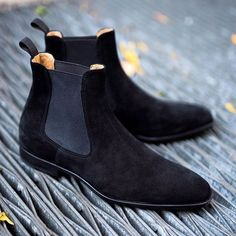 Handmade Custom Mens Black Chelsea Suede Boots, Men Suede Fashion Formal Boots - Boots