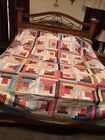 Log Cabin Quilt Scrappy Quilt Size QUILT TOP UNFINISHED TOP QUILTING KING BED