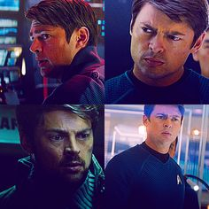 "'Bones' McCoy (Karl Urban) - You know, I really liked DeForest Kelly as Dr. McCoy, but I am blown away by how well Karl has taken on ""Bones"". I wish he had a bigger part in the movie.maybe in Stark Trek: Beyond? New Star Trek Movie, Star Trek Cast, Star Trek Movies, Urban Star, Leonard Mccoy, Stark Trek, Star Trek Reboot, Star Trek 2009, Star Trek Into Darkness"