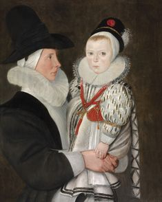 A Child and His Nurse, by unknown, (circa 1589) - the child, believed to be a John Durch, died a year after this portrait was painted.