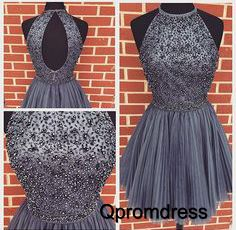 Beaded grey tulle short prom dress, cute halter party dress for teens