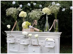 Open drawers. Flowers. Lace. Tree. Deco.