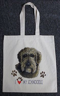 Medium Sized I Love My Schnoodle Dog Canvas Tote Bag Shopping Grocery Reusable