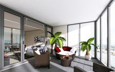 Enclosed Balcony - Apartment Living - www.billbergia.com.au Industrial Loft, Apartment Living, Balcony, Patio, Room, Tower, Furniture, Home Decor, Bedroom