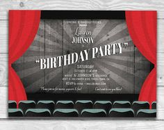 """Old Movie Title Card Birthday Party Invitation 