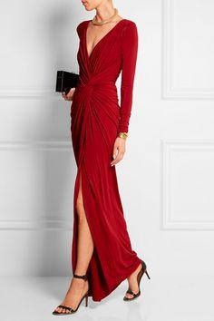 Donna Karan New York - Twist-front draped stretch-jersey gown New York Fashion, Fashion Week, Curvy Fashion, Dress Fashion, Donna Karan, Dressy Dresses, Summer Dresses, Wrap Dresses, Plus Size Wedding Guest Dresses