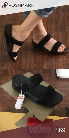 c34707f6389 Fitflop Shimmy Suede Slide BLACK  NEW IN BOX  FitFlops FitFlop Shoes  Sandals Slide