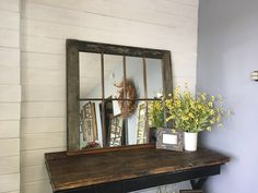 Large Window Mirror, Window Mirror, Old Window made into a mirror, Old Window Mirror, mirror, window Pane Mirror by TheDecorativeCompany on Etsy