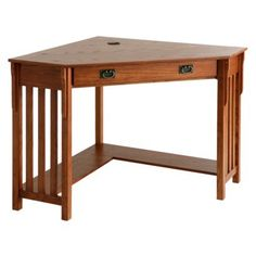 Mission Corner Desk - Oak. I really want a desk in my house and I think this would work in the Great Room or the guest room.