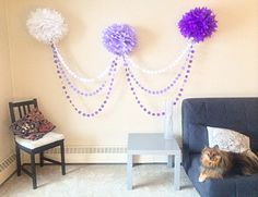 **At checkout, please indicate 3 pom pom colours (I will make the matching garlands according to your choice of pom pom)**  This beautiful