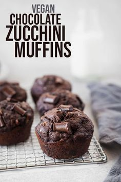 double chocolate zucchini muffins are rich enough to be dessert, but totally acceptable for breakfast! Vegan, lightly sweetened, tender, and delicious! Double Chocolate Zucchini Muffins, Dairy Free Chocolate Chips, Chocolate Muffins, Vegan Chocolate, Vegan Sweets, Vegan Desserts, Fun Desserts, Vegan Muffins, Snacks