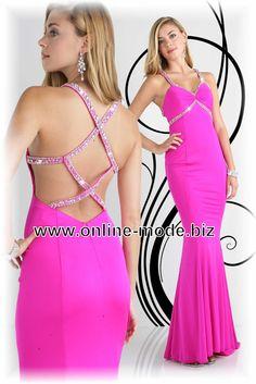 Abendkleid in Pink mit Sexy Rücken Ausschnitt von www.online-mode.biz
