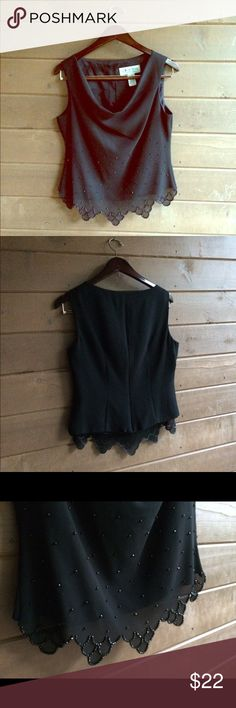 🎀💕A gently used J.R. NITES Dressy Top 💕🎀This a an absolutely gorgeous, feminine blouse.  Scalloped edges at bottom of sheer material covering the solid black shell beneath.  It has scolloped bottom edges and beading on front. The front has a slight draped affect at the neck. A zipper allows easy access on/off.  Absolutely stunning!!!!!!  This is a RePosh. Unfortunately the bust does not fit. I couldn't have it altered. Believe me, I asked!  100% Polyester lining, 100% Acetate💋 J.R…