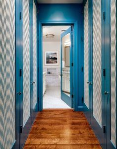 Loving the Bargello inspired blue and white walls in this New...