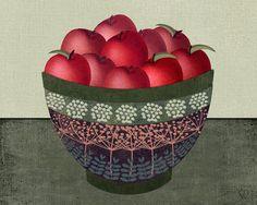Original Folk Art Apples  Still Life Art by HighStreetVintage,
